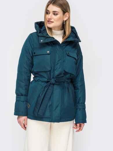Демисезонная куртка с кулиской по талии тёмно-синяя - 45169, фото 2 – интернет-магазин Dressa