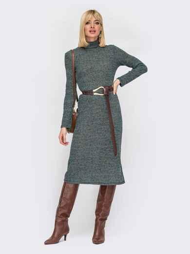 Фактурное платье с высоким воротником зеленое 53006, фото 1