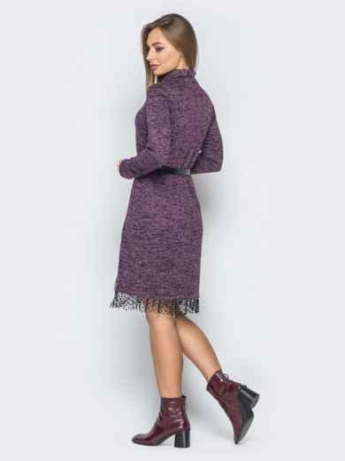 Фиолетовое платье со вставкой из фатина и воротником-стойкой - 19261, фото 2 – интернет-магазин Dressa