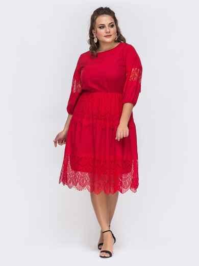 Красное платье батал с кружевом и резинкой по талии 43713, фото 1