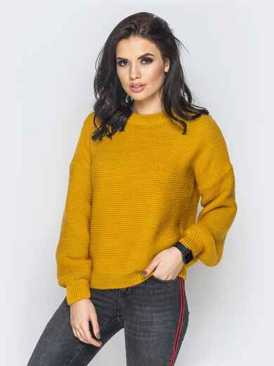 Объемный укороченный свитер желтого цвета 18991, фото 1