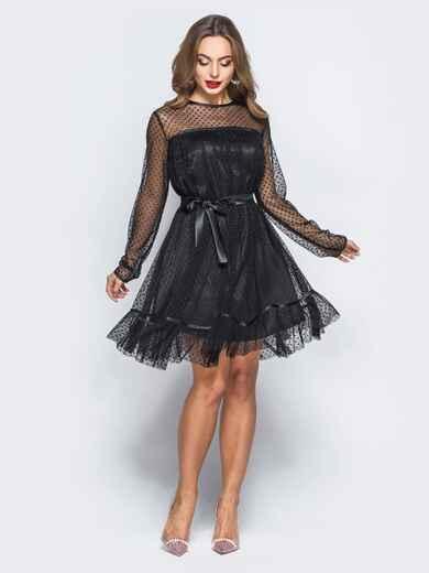Платье черного цвета с фактурным фатином и подкладкой - 17981, фото 1 – интернет-магазин Dressa