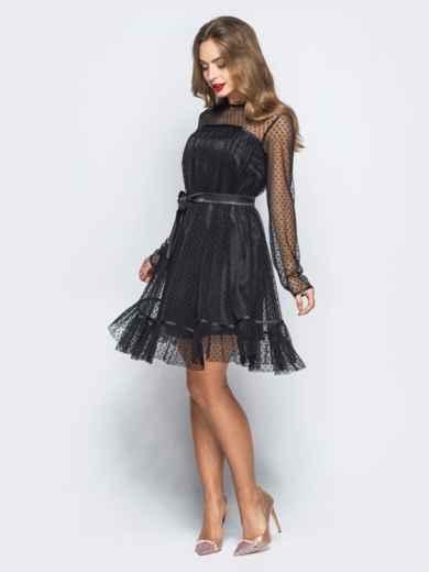 Платье черного цвета с фактурным фатином и подкладкой - 17981, фото 2 – интернет-магазин Dressa