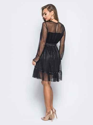 Платье черного цвета с фактурным фатином и подкладкой - 17981, фото 3 – интернет-магазин Dressa