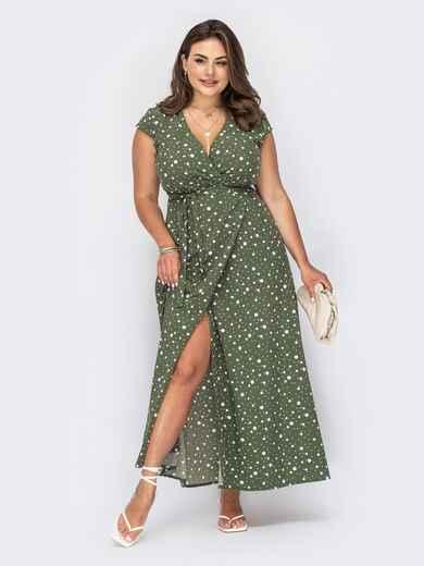 Платье с запахом цвета хаки в горох 53975, фото 1