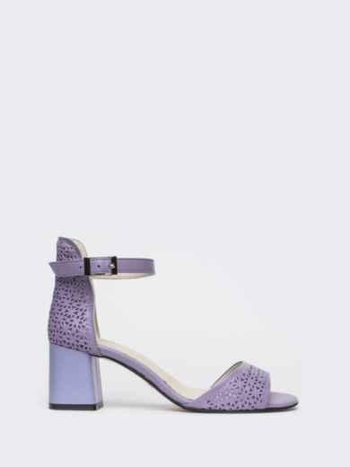 Сиреневые босоножки на устойчивом каблуке с перфорацией - 21436, фото 4 – интернет-магазин Dressa