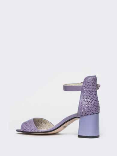 Сиреневые босоножки на устойчивом каблуке с перфорацией - 21436, фото 5 – интернет-магазин Dressa