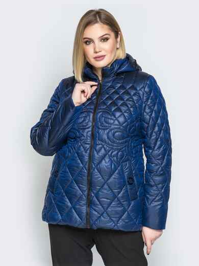 Стеганая куртка с капюшоном и карманами на магнитах синяя 20321, фото 1