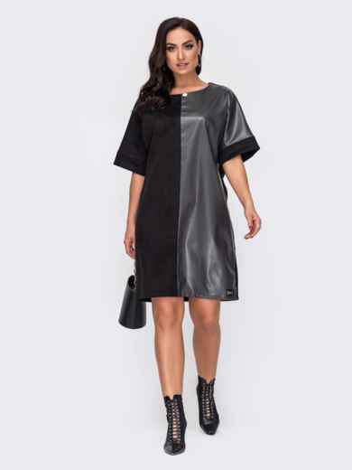 Прямое платье большого размера из замши чёрное 52197, фото 1