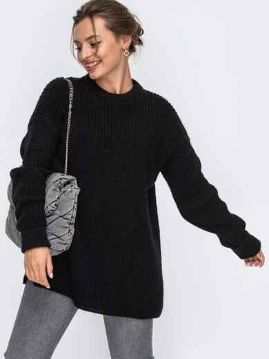 Черный вязаный свитер с разрезами по бокам 50409, фото 1