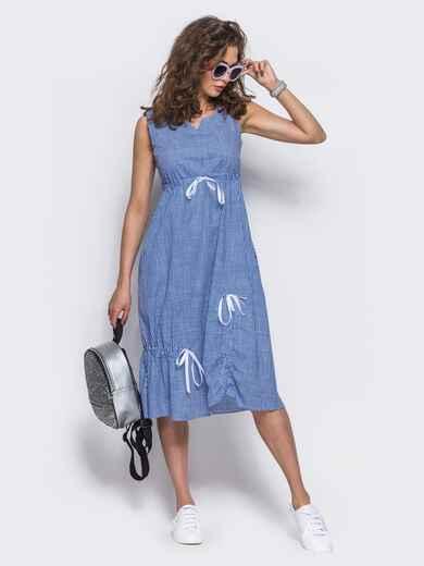 Хлопковое платье в голубую клетку - 11471, фото 2 – интернет-магазин Dressa