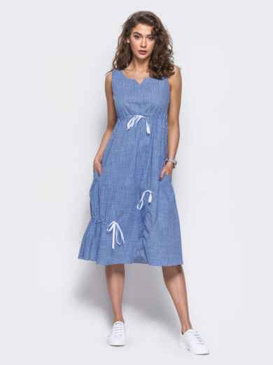 Хлопковое платье в голубую клетку - 11471, фото 3 – интернет-магазин Dressa