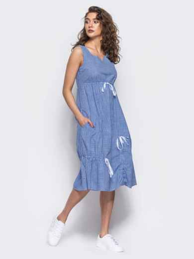 Хлопковое платье в голубую клетку - 11471, фото 4 – интернет-магазин Dressa