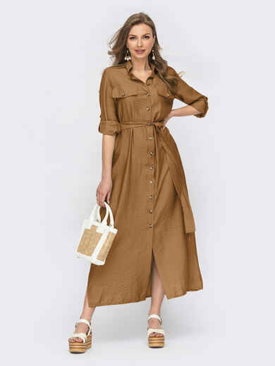 Коричневое платье-рубашка с пуговицами 54126, фото 1