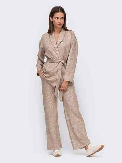 Коричневый костюм с брюками на резинке и кардиганом с поясом 51151, фото 1