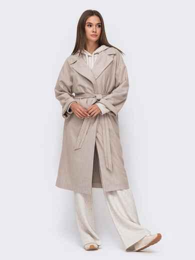 Объемное пальто на запах бежевое 51152, фото 1