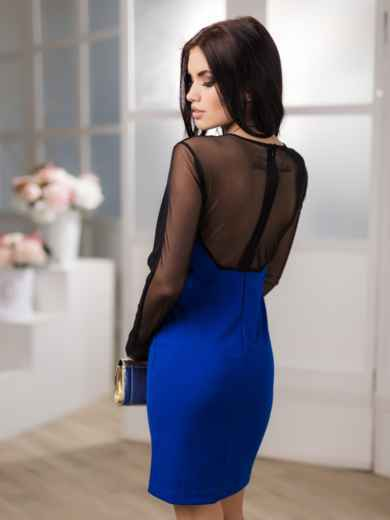 Платье-футляр со стрейчевой сеткой на кокетке и рукавах - 12660, фото 2 – интернет-магазин Dressa
