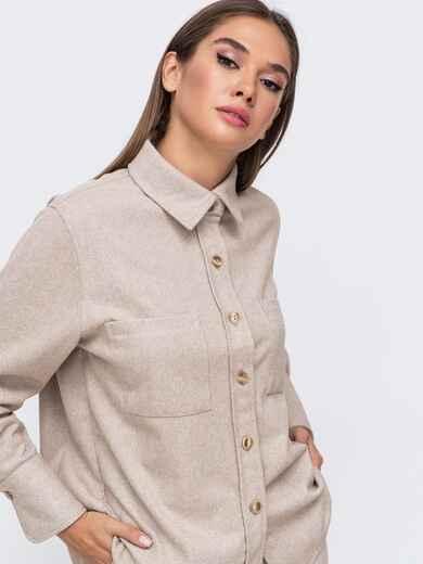 Тёплая рубашка из плотной пальтовой ткани бежевая 51153, фото 1