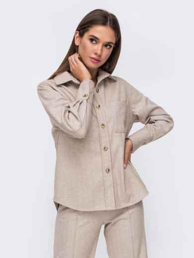 Тёплая рубашка из плотной пальтовой ткани бежевая 51153, фото 2