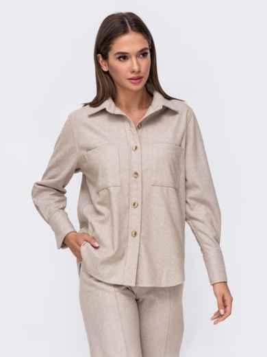 Тёплая рубашка из плотной пальтовой ткани бежевая 51153, фото 3