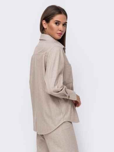 Тёплая рубашка из плотной пальтовой ткани бежевая 51153, фото 4
