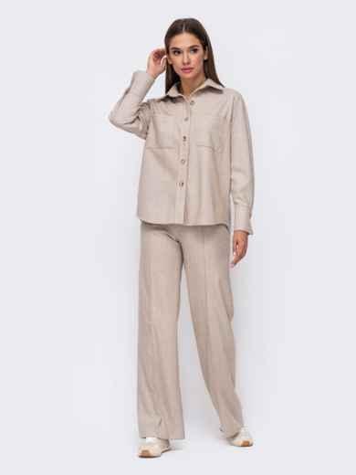Тёплая рубашка из плотной пальтовой ткани бежевая 51153, фото 5