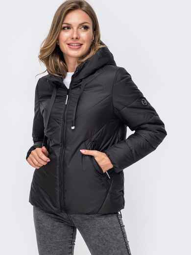 Укороченная куртка со вшитым капюшоном чёрная 50411, фото 1