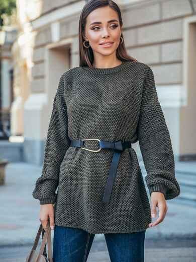 """Вязаный свитер цвета хаки с узором """"Соты"""" 50407, фото 1"""