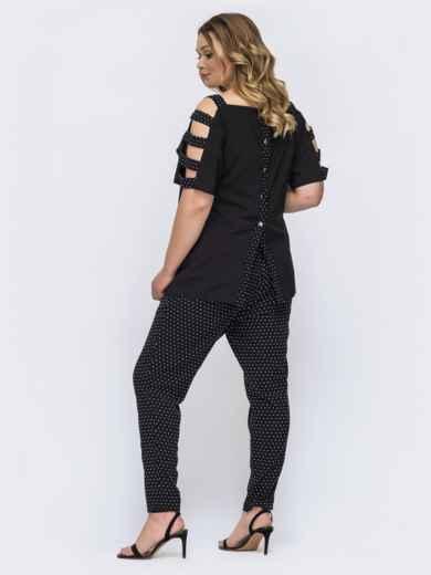 Брючный комплект батал с блузкой черного цвета 46230, фото 2