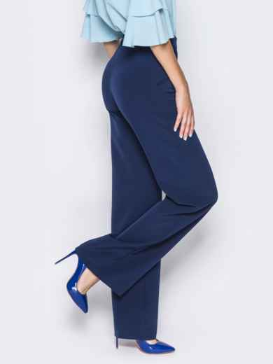 Брюки-клёш из костюмного крепа тёмно-синие - 14397, фото 2 – интернет-магазин Dressa