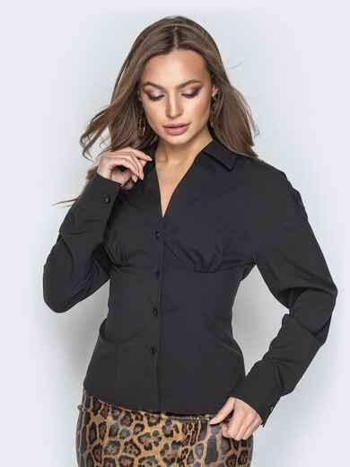 Чёрная блузка из софта с завышенной талией - 21221, фото 1 – интернет-магазин Dressa