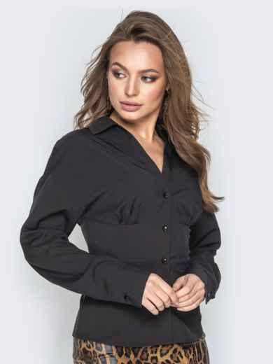 Чёрная блузка из софта с завышенной талией - 21221, фото 2 – интернет-магазин Dressa