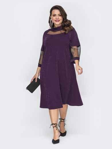 Фиолетовое платье-трапеция большого размера с люрексом 52078, фото 1