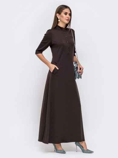 Приталенное платье-макси с карманами коричневого 41496, фото 2
