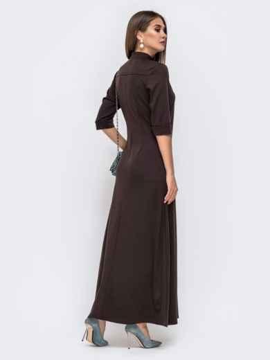 Приталенное платье-макси с карманами коричневого 41496, фото 3