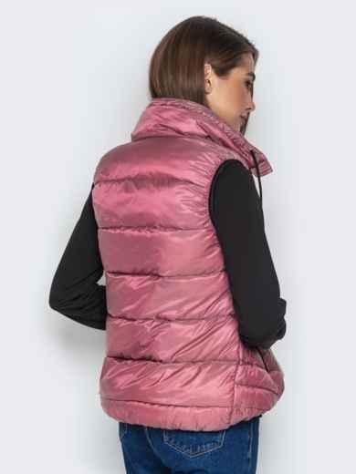 Розовый жилет с объёмным воротником и удлиненной спинкой - 20310, фото 2 – интернет-магазин Dressa