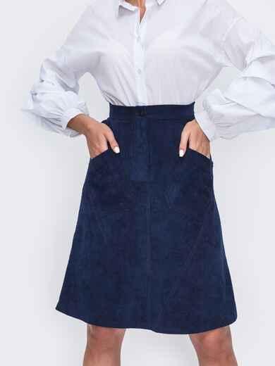 Синяя юбка-трапеция с карманами спереди 49531, фото 1