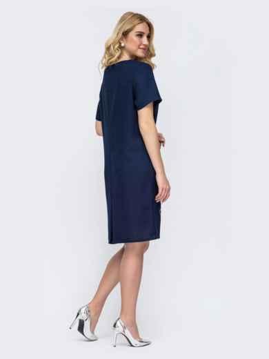 Тёмно-синее платье большого размера с принтом 49053, фото 2