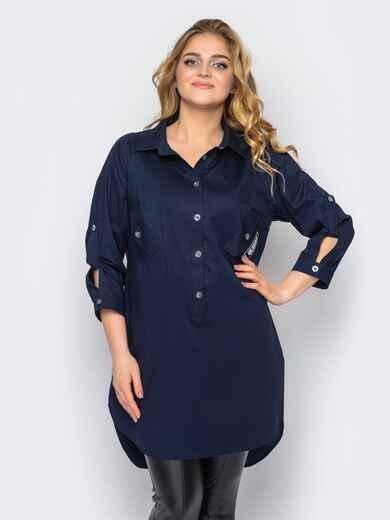 Удлиненная рубашка из хлопка со шлейфом синяя 37041, фото 1