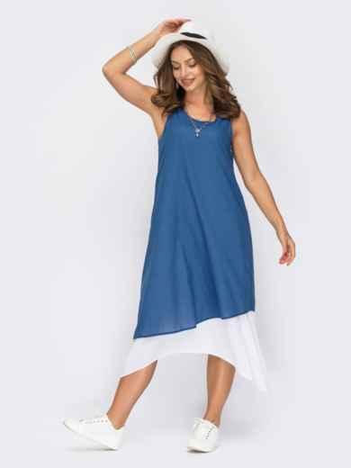 Двухслойное платье-трапеция из хлопка темно-синее 53846, фото 1