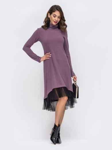 Платье-гольф с удлиненной спинкой и оборкой по низу фиолетовое 42770, фото 1