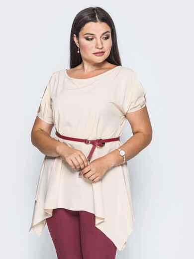 Блузка без застёжек с удлиненными боками пудровая - 14194, фото 1 – интернет-магазин Dressa