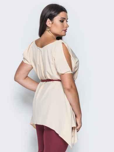 Блузка без застёжек с удлиненными боками пудровая - 14194, фото 2 – интернет-магазин Dressa