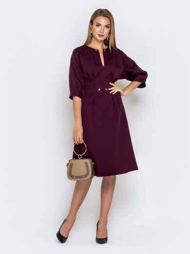 Бордовое платье приталенного кроя с объёмным рукавом 40469, фото 1