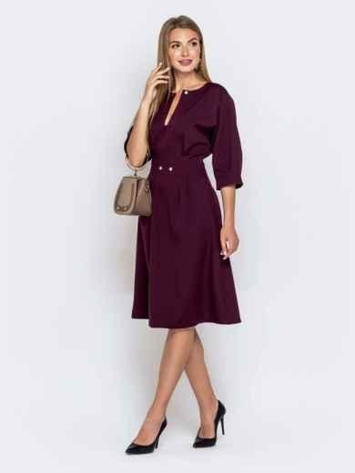 Бордовое платье приталенного кроя с объёмным рукавом 40469, фото 2
