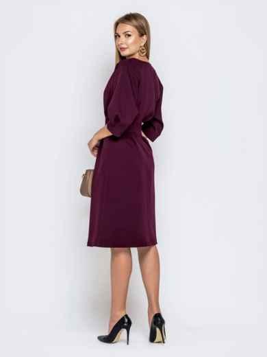 Бордовое платье приталенного кроя с объёмным рукавом 40469, фото 3