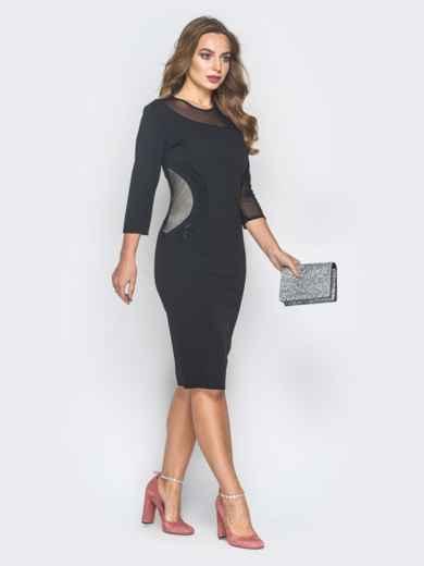 Черное платье-футляр со вставкой на кокетке  - 18625, фото 2 – интернет-магазин Dressa
