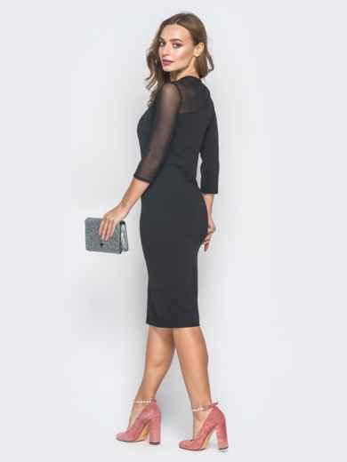 Черное платье-футляр со вставкой на кокетке  - 18625, фото 3 – интернет-магазин Dressa