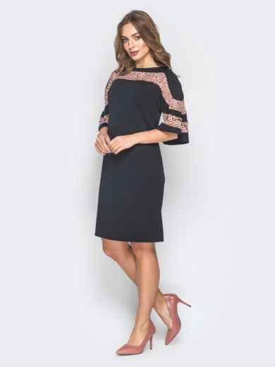Черное платье-трапеция с кружевом на кокетке и рукавах - 18630, фото 2 – интернет-магазин Dressa