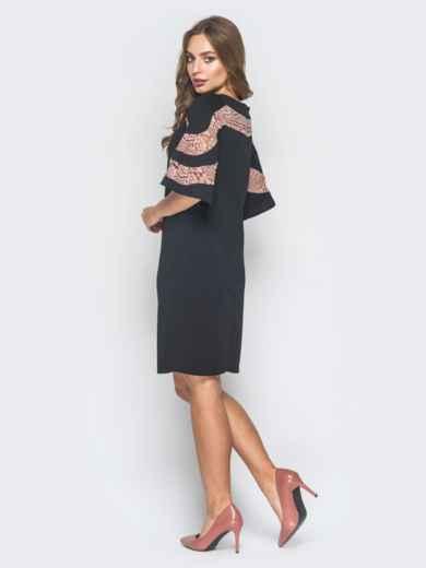 Черное платье-трапеция с кружевом на кокетке и рукавах - 18630, фото 3 – интернет-магазин Dressa